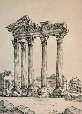 Austen Pinkerton; The Temple Of Apollo At Side, 2018, Original Drawing Other, 20 x 28 cm.