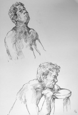 Austen Pinkerton; Two Quick Studies Of Stephen, 2020, Original Drawing Pencil, 32 x 42 cm. Artwork description: 241 Two 15 minute sketches of the model Stephen at Narberth Life Drawing Group, Narberth, Pembrokeshire, UK...