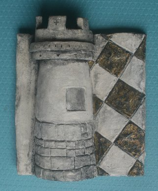 Avril Ward; Castle, 2014, Original Ceramics Handbuilt, 8 x 8 inches. Artwork description: 241        1 of 6 of the set CHESSMEN. Hand colored/ metal leaf,  ceramic. Sold as a set.       ...