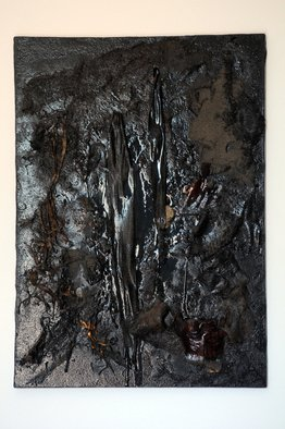 Alessandro Zanazzo; ECLIPSE OF SUN LIQUID BLA..., 2015, Original Mixed Media, 50 x 70 cm. Artwork description: 241  Natural elementswood, barks, sand, mineral, etc. Painted in glossy black , the colour of Oil spin and environments destruction, on canvas . This painting is part of a series which sizes are different, up to 1 meter x 70 cm. ...