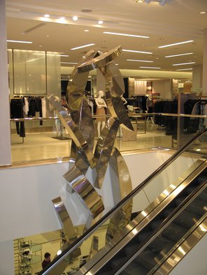 Bob Doster; Cascade, 2005, Original Sculpture Steel, 8 x 40 feet. Artwork description: 241  Highly polished stainless steel sculpture commissioned by Saks Fifth Avenue. ...