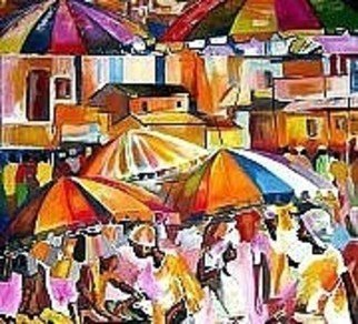 Ben Adedipe; Business As Usual, 2013, Original Painting Acrylic, 48 x 48 inches. Artwork description: 241    African people, people, rain, umbrella rejoice, joy          ...