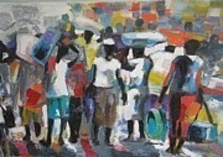 Ben Adedipe; Exodus, 2013, Original Painting Acrylic, 48 x 20 inches. Artwork description: 241   People migrating in our global village.  ...