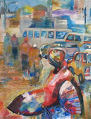 Ben Adedipe; Going Home, 2013, Original Painting Acrylic, 36 x 48 inches. Artwork description: 241    An African woman, going home, trader, market woman   ...