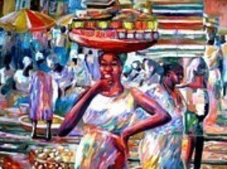 Ben Adedipe; Hawkers, 2013, Original Painting Acrylic, 36 x 48 inches. Artwork description: 241   African women, trader, market women     ...