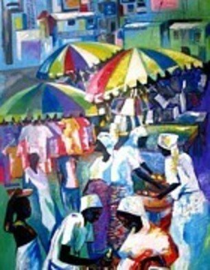 Ben Adedipe; Market Place, 2013, Original Painting Acrylic, 36 x 48 inches. Artwork description: 241    African women, traders, market women      ...