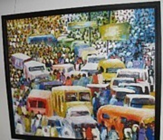 Ben Adedipe; People Traffic, 2013, Original Painting Acrylic, 48 x 48 inches. Artwork description: 241     African women, traders, market women       ...