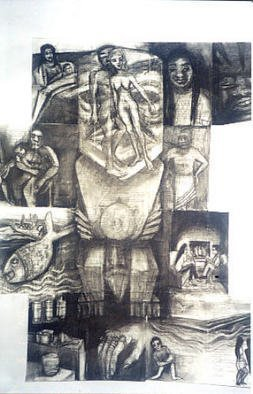 Susan Baquie; Polytext, 2004, Original Drawing Charcoal, 20 x 30 inches. Artwork description: 241  This is a collage of the pages of a novel with drawings of the people, places and things within the pages. ...