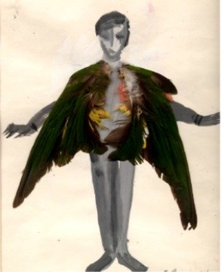 Susan Baquie; Winged Boy, 1995, Original Collage, 19.5 x 25 cm. Artwork description: 241 The bird  wings are collaged onto the ink and water colour depiction of a young boy getting his wings. ...