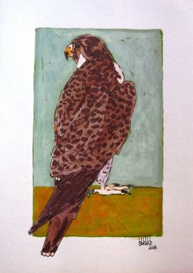 Claudio Barake; FALCON, 2008, Original Watercolor, 25 x 33 cm. Artwork description: 241  ORIGINAL WATERCOLOR ON CANSON PAPER.   ...