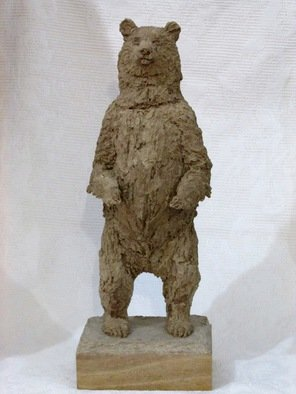 Claudio Barake; GRIZZLY BEAR, 2014, Original Sculpture Mixed, 15 x 42 cm. Artwork description: 241  SOLID PAPIER MACHE SCULPTURE, USING RECYCLED CARDBOARD BOX PAPER. PEROBAWOOD BASE.     ...