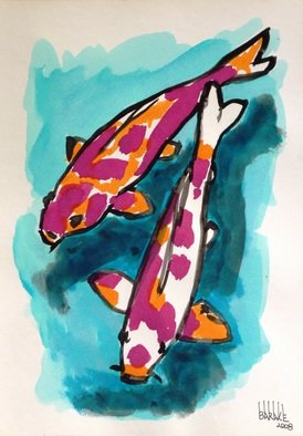 Claudio Barake; KOI CARPS, 2008, Original Watercolor, 25 x 33 cm. Artwork description: 241  ORIGINAL WATERCOLOR ON CANSON PAPER. ...