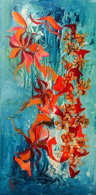 Barbara Stamegna; Corals, 2004, Original Painting Oil, 60 x 120 cm. Artwork description: 241 Painting: Oil, Enamel and Paint on Canvas.Bright orange and red floating shapes on watery like enamel background with blue and white fluid shades.The artwork may have multiple intrepretations according to the viewer s perspective and experience of life, so that the viewer becomes himself herself ...