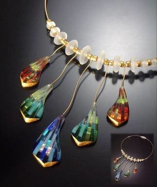 Dolores Barrett; Diapason , 2006, Original Glass Fused, 7 x 11 inches. Artwork description: 241  Slices of colorful fused glass with 24k gold leaf accents.  14/ 20K gold wire and hand- carved Pyrex spacer beads.   ...