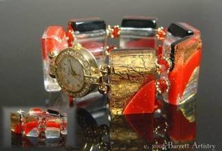 Dolores Barrett; Red Corvette Watch, 2006, Original Glass Fused, 7 x 1 inches. Artwork description: 241  Vivid red and gold lusters accent this bold fashion accessory.  Gold tone watch face with rhinestone accents. ...