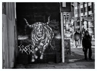 Barry Hurley; Raging Bull, 2018, Original Photography Black and White, 24 x 16 inches. Artwork description: 241 London s east end has become a cultural hot bed for street urban art. This seems to have been unnoticed by the passerby. ...