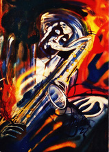 Artist: Barry Boobis', title: Dexter Gordon Blue Rainbow, 2011, Painting Acrylic