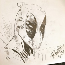 Molly Barten, , , Original Drawing Pencil, size_width{Deadpool_Sketch-1465417048.jpg} X 11 inches