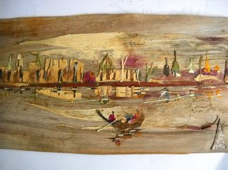 Basant Soni; City Evening Scene, 2011, Original Collage, 25 x 22 cm. Artwork description: 241   Organic Art made from Only Nature on Canvas of Bark of Palm tree.  No colors/ artificial materials used to generate this art.    ...