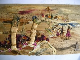 Basant Soni; Tiny Picnic Spot, 2011, Original Collage, 25 x 22 cm. Artwork description: 241  Organic Art made from Only Nature on Canvas of Bark of Palm tree.  No colors/ artificial materials used to generate this art.   ...