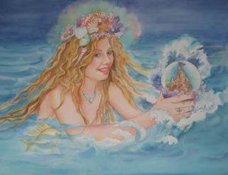 Lesta Frank; Sea Fairy, 2005, Original Other, 26 x 19 inches. Artwork description: 241 the sea fairy emerges from the water, having found a globe that houses a  miniature sandcastle. a rainbow aura surrounds her crown of seashells and coral....