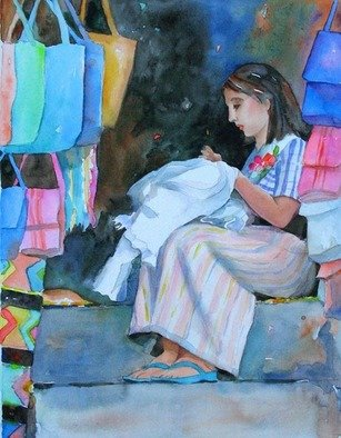 Lesta Frank; Seamstress, 2008, Original Watercolor, 14 x 9 inches. Artwork description: 241  Seamstress is a young woman from Guatemala sewing in her handbag shop. It displays the bright colors and happy mood seen in her countrys' markets. ...