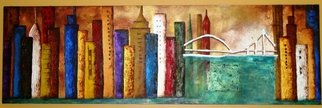 Beatriz Rosell; CIUDAD, 2010, Original Painting Acrylic, 160 x 50 cm. Artwork description: 241   Mixed media on canvas  ...