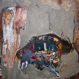 Becky Soria, , , Original Painting Other, size_width{Bisonte_azul_Blue_Bison-1360531649.jpg} X 36 inches