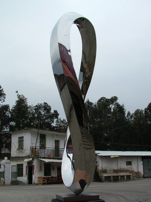Wenqin Chen; Endless Curve No3, 2010, Original Sculpture Steel, 56 x 100 cm. Artwork description: 241 stainless steel sculpture, monumental sculpture, varied commissions available, up scale available, corporate sculpture, public sculpture. ...