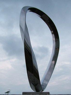 Wenqin Chen; Endless Curve No4, 2010, Original Sculpture Steel, 187 x 300 cm. Artwork description: 241 stainless steel sculpture, monumental sculpture, varied commissions available, up scale available, corporate sculpture, public sculpture. ...