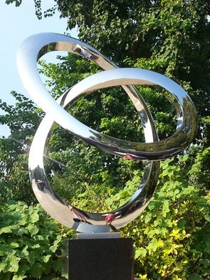 Wenqin Chen; Infinity Curve No2, 2006, Original Sculpture Steel, 68 x 90 cm. Artwork description: 241 stainless steel sculpture, monumental sculpture, varied commissions available, up scale available, corporate sculpture, public sculpture. ...