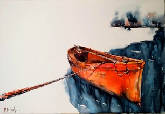 Volha Belevets; Start From The Beginning, 2018, Original Watercolor, 63 x 43 cm. Artwork description: 241 red boat...