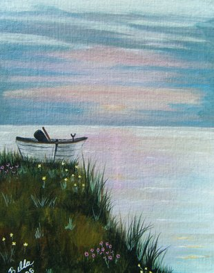 Isabella Mccartney; Time To Go Home, 2010, Original Painting Acrylic, 11 x 14 inches. Artwork description: 241   Sailboat, Sunset    ...