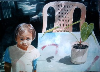 Jonathan Benitez; Sunday Morning, 2001, Original Watercolor, 56 x 76 cm. Artwork description: 241  a portrait of a boy with a plant. the boy is my nephew when he is about 6 years old. i painted him at the time when he is the only boy in the family. I compared him to a struggling plant anthurium whose roots dug deep ...