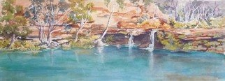 Bernice Wright; Fern Pool Karijini, 2010, Original Watercolor, 75 x 28 cm. Artwork description: 241   In the Pilbara Western Australia.  This pool is a popular place for tourists, a dip in the really cold water a welcome relief on a hot day.   We swam under the overhang amongst the ferns and let the water fall onto our backs,   LOVELY. an easy place ...