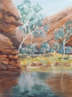 Bernice Wright; In The Gorges, 2011, Original Watercolor, 54 x 72 cm. Artwork description: 241     On painting trip to the Karijini National Park in the Pilbara region of Western Australia. A cool place to paint, but sunlight all around.  and lovely WATER Refreshing out of the sun. ...
