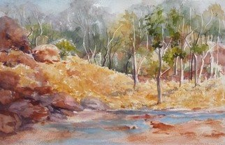 Bernice Wright; Kalamina Gorge, 2010, Original Watercolor, 51 x 33 cm. Artwork description: 241   On painting trip to the Karijini National Park  in the Pilbara region of Western Australia. The water in the creek was so inviting, we all went for a dip.   ...
