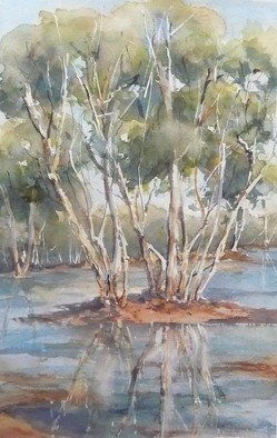 Bernice Wright; Kalgan Pool, 2010, Original Watercolor, 35 x 54 cm. Artwork description: 241   At Newman, in the Pilbara Western Australia. A little oasis in the arid red earth, up with the easel and out with the paints, a welcoming peaceful scene. ...