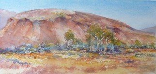 Bernice Wright; Mesa Pilbara, 2010, Original Watercolor, 52 x 25 cm. Artwork description: 241  In the Pilbara Western Australia.  The large rocky hill,   just made for painting, with the blue bushes setting off the red/ pink of the rock.   ...