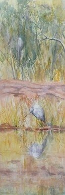 Bernice Wright; Mr Crane, 2011, Original Watercolor, 25 x 72 cm. Artwork description: 241      On painting trip to the Karijini National Park in the Pilbara region of Western Australia. What do we see?  Mr Crane having a holiday reflected in the calm stream  He is posing and asking