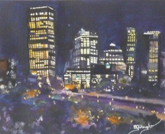 Bernice Wright; Night Moves Perth, 2011, Original Watercolor, 26 x 21 cm. Artwork description: 241  This is a painting of a small section of Perth Western Australia from Kings Park, in the almost dark. Fun to paint.    ...