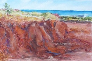 Bernice Wright; Prices Point Cliffs, 2011, Original Mixed Media, 51 x 33 cm. Artwork description: 241  These great cliffs are in the North West of Western Australia.  Unfortunately the powers that be are going to erect an oil facility in this area and no doubt destroy the scenery.  There is also a lot of aboriginal art on the rocks close by.  A great ...