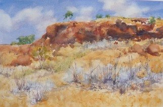 Bernice Wright; Rocky Outcrop Pilbara, 2010, Original Watercolor, 51 x 33 cm. Artwork description: 241     On painting trip to the Karijini National Park  in the Pilbara region of Western Australia. Wow, Shat a great outcrop.   With the clouds scudding across the sky, who could resist painting it.  ...