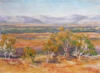 Bernice Wright;  Karajini National Park, 2011, Original Watercolor, 76 x 56 cm. Artwork description: 241  On painting trip to the Karijini National Park  in the Pilbara region of Western Australia.  I loved the time of day, and the light over the landscape and just had to paint the scene before me. ...