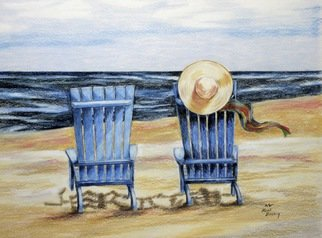 Ron Berry; Blue Chairs and a Hat, 2014, Original Drawing Pencil, 16 x 12 inches.