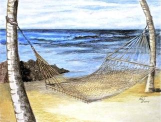 Ron Berry; Hammock Between the Palms, 2013, Original Drawing Pencil, 14 x 11 inches.