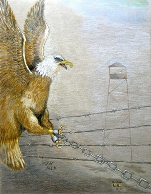 Ron Berry; POW Chained Eagle, 2014, Original Drawing Pencil, 19 x 25 inches.