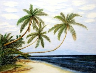 Ron Berry; Palms Over White Beach, 2014, Original Drawing Pencil, 16 x 12 inches.