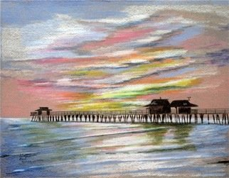 Ron Berry; Pastel Sky Over the Pier 3, 2012, Original Drawing Pencil, 20 x 16 inches.