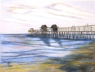Ron Berry; Peaceful Pier, 2015, Original Drawing Pencil, 20 x 16 inches.